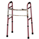 Adult Designer Folding Walker 2 Button - The adult designer folding walker in Pink with Floral Print has